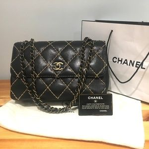 Chanel Black Wild Surpique Stitch Single Flap 2.55